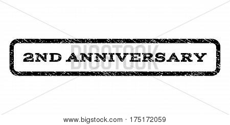 2nd Anniversary watermark stamp. Text caption inside rounded rectangle frame with grunge design style. Rubber seal stamp with dust texture. Vector black ink imprint on a white background.