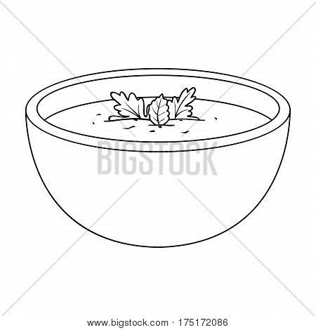 Porcelain tureen with the soup.Vegetarian soup-puree of pumpkin.Vegetarian Dishes single icon in outline style vector symbol stock web illustration.