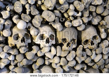 Human bones and skulls in Ossuary. Kostnice Church in Kutna Hora, Czech republic