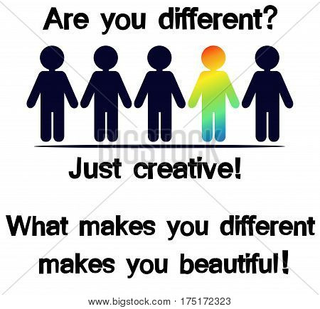 Design elements. Creative man. What makes you different makes you beautiful