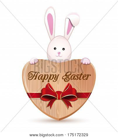 Easter bunny and wooden heart isolated on white background. Cute Easter bunny holding a big wooden heart with an inscription - Happy Easter. Wooden heart tied with red ribbon. Vector illustration