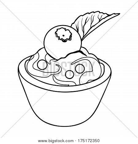 Vegetarian dessert. For vegetarians ice cream in a chocolate Cup and blueberry.Vegetarian Dishes single icon in outline style vector symbol stock web illustration.