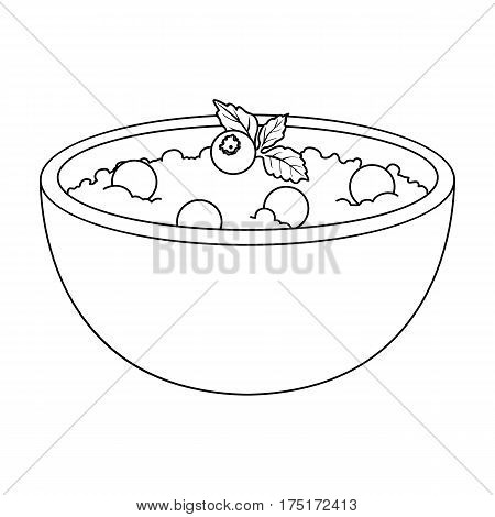 Delicious vegetarian porridge.Porridge for vegetarians blueberry.Vegetarian Dishes single icon in outline style vector symbol stock web illustration.