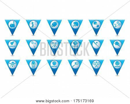 Tennis, Baseball, American football icons set on blue triangular map pointers