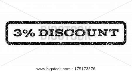 3 Percent Discount watermark stamp. Text caption inside rounded rectangle frame with grunge design style. Rubber seal stamp with scratched texture. Vector black ink imprint on a white background.