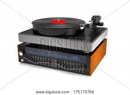 Sound equalizer turntable vinyl record on white background (3d illustration).