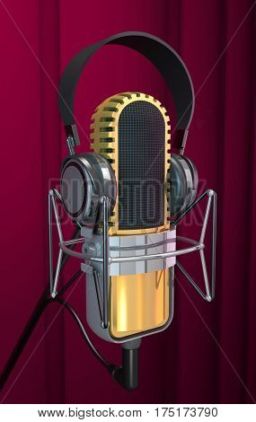 Microphone and headphone on curtain background (3d illustration).