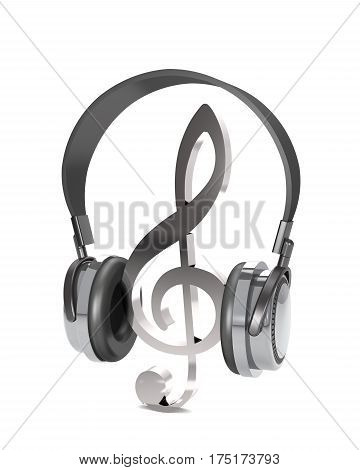 Abstract treble clef and headphones on white background (3d illustration).