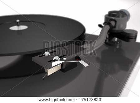 Vinyl turntable with gramophone record on white background (3d illustration).