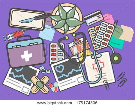 Medicine banner with medical equipment vector illustration. Healthcare, diagnosis and treatment, pharmaceutical medicine. Stethoscope, medicine chest, syringe, scalpel, tablet, plaster, cardiogram