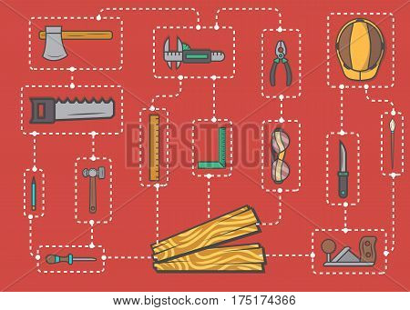 Carpentry professional service infographic concept vector illustration. Woodworker scheme, wood industry instrument, hand tool set. Plane, hammer, ax, saw, ruler, pliers, chisel, safety helmet.