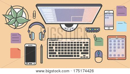Mobile programming isolated colorful icons vector illustration. Desktop computer, smartphone, tablet, headphones. Mobile application development, smartphone apps coding, software testing and debugging