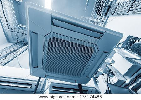Air conditioning system installed on the wall of the building.