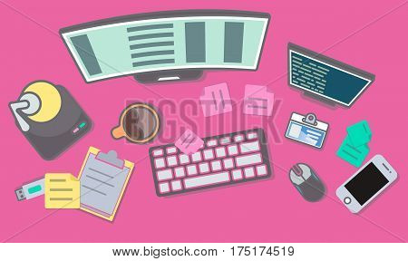Web programming top view banner vector illustration. Programmer workplace with computer, smartphone, usb drive, mouse. Website development, seo, software coding, web design, testing and debugging
