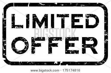 Grunge black limited offer square seal stamp on white background