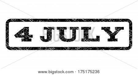 4 July watermark stamp. Text tag inside rounded rectangle with grunge design style. Rubber seal stamp with dirty texture. Vector black ink imprint on a white background.