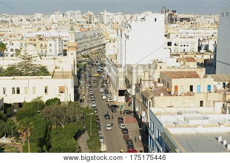 SFAX, TUNISIA - NOVEMBER 30, 2011: View to the historical city center of Sfax in Sfax, Tunisia.