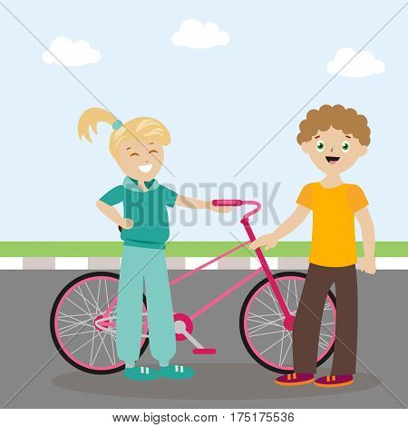 The guy and the girl are standing near the bicycle and are cute. Meeting friends. A new acquaintance. Flat character. Vector, illustration EPS10