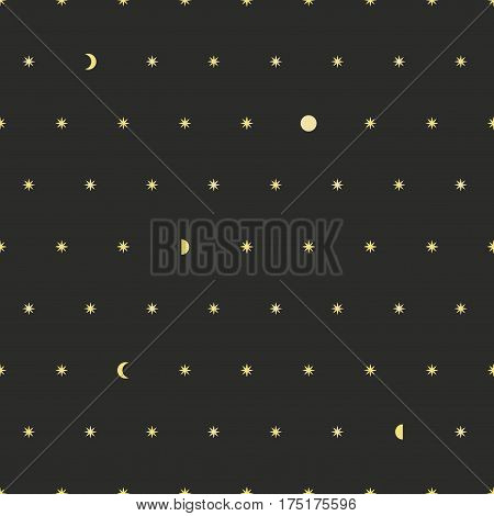 Seamless night pattern background with stars and moon. Moon phases