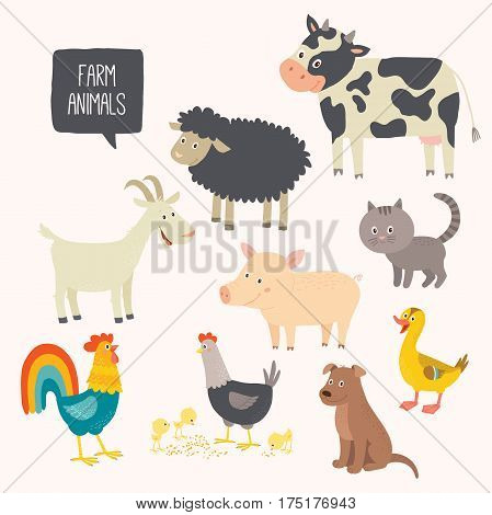Set of cute farm animals - dog, cat, cow, pig, hen, cock, duck, goat. Cartoon vector hand drawn eps 10 clip art illustration isolated on white background.