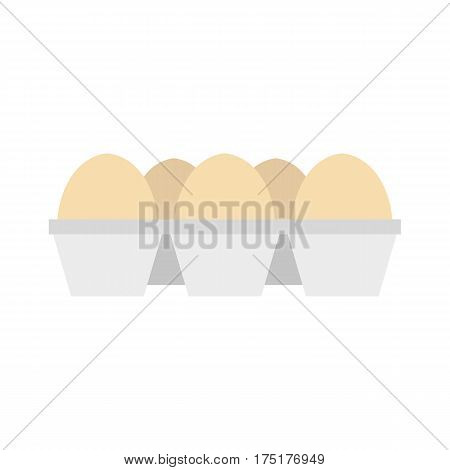 Eggs in carton package icon in flat style isolated on white background vector illustration