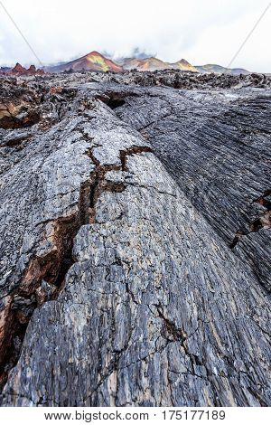 Crevasses in barren lava fields, Kamchatka volcano park