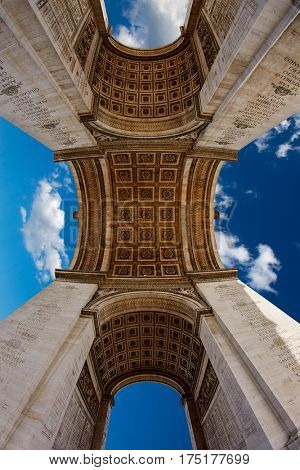 Arc de Triomphe in Paris Arch of Triumph low angle view at France