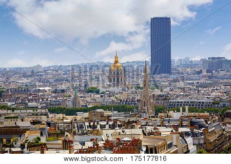 Paris skyline Invalides golden dome aerial view in France