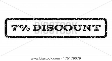 7 Percent Discount watermark stamp. Text tag inside rounded rectangle frame with grunge design style. Rubber seal stamp with dust texture. Vector black ink imprint on a white background.