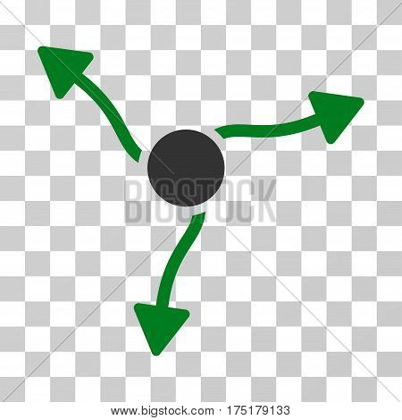 Curve Arrows icon. Vector illustration style is flat iconic bicolor symbol green and gray colors transparent background. Designed for web and software interfaces.