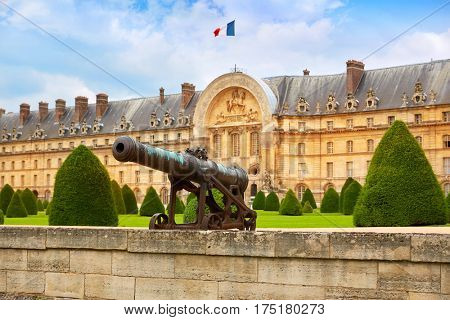Les Invalides facade and cannons in Paris France