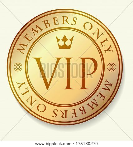 Gold And Red Vip Decor With Round Frame, Caption Members Only And Crown.