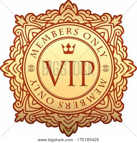 Rich Decorate Gold Vip Decor With Unusual Stylish Ornate Round Frame, Caption Members Only And Crown
