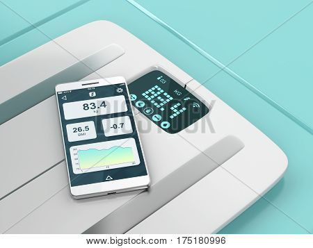 Smart weight scale and a smartphone with weight information on it's display, 3D illustration