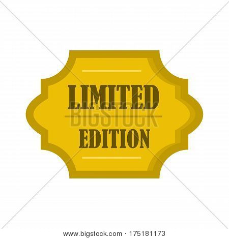 Golden limited edition label icon in flat style isolated on white background vector illustration