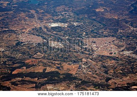 Segorbe and Altura villages aerial in Castellon Province of Valencian community at Spain
