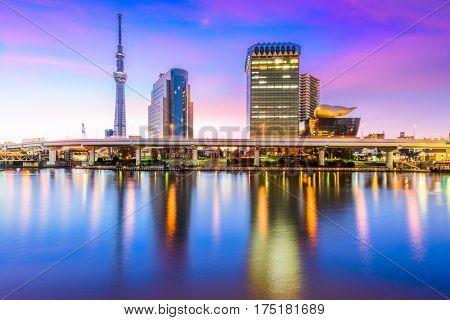 Tokyo, Japan skyline on Sumida River.