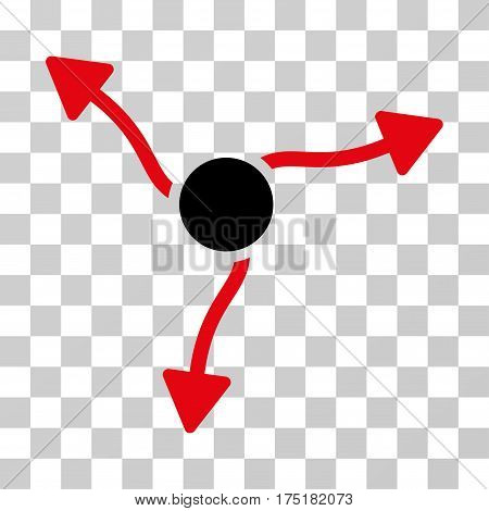 Curve Arrows icon. Vector illustration style is flat iconic bicolor symbol intensive red and black colors transparent background. Designed for web and software interfaces.