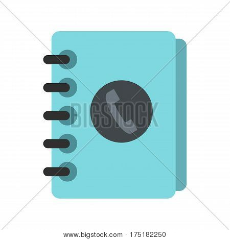 Blue address book icon in flat style isolated on white background vector illustration