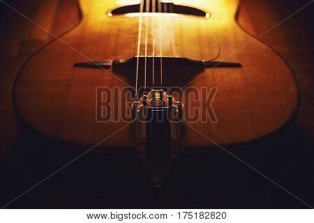 Closeup View Of Gypsy Guitar Body