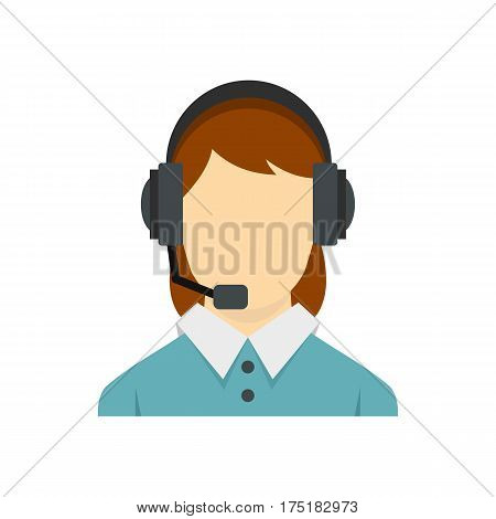 Call center operator with phone headset icon in flat style isolated on white background vector illustration