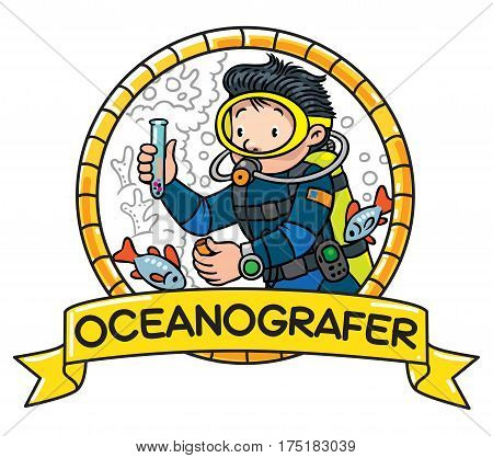 Funny diver or oceanologist or oceanographer, in scuba gear with camera near the fishes. Profession ABC series. Children vector illustration. Emblem