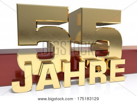 Golden digit fifty five and the word of the year. Translated from the German - years.3D illustration
