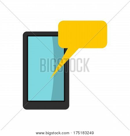 Smartphone with bubble speech icon in flat style isolated on white background vector illustration