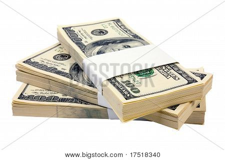 Three Stack Of $100 Bills