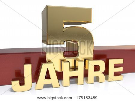 Golden digit five and the word of the year. Translated from the German - years.3D illustration