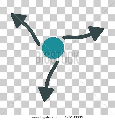 Curve Arrows icon. Vector illustration style is flat iconic bicolor symbol soft blue colors transparent background. Designed for web and software interfaces.