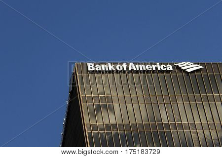 Austin, USA - July 19, 2015: Bank of America logo on one of the office buildings in Austin, Texas., USA.