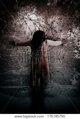 Ghost woman with barbed wire, Scary background for book cover