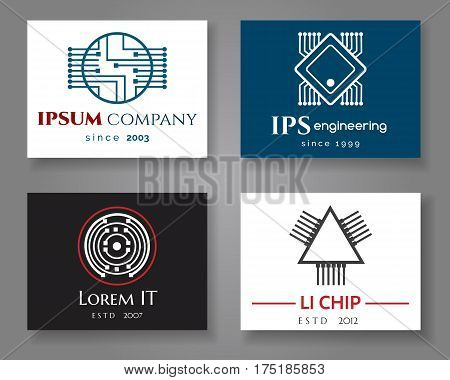 IT and engineering logo company card set. Vector business label cards with chips or cpu. Brand company on card illustration